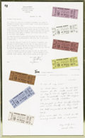Music Memorabilia:Tickets, Beatles Suffolk Downs Unused Tickets Set of 7. Featured are sevenunused, color-coded tickets for the Beatles August 18, 196...