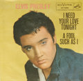 """Music Memorabilia:Recordings, Elvis Presley """"A Fool Such As I""""/ """"I Need Your Love Tonight"""" 45 w/Rare Picture Sleeve RCA 7506 (1959). This is the extremel..."""
