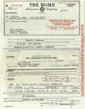 Music Memorabilia:Autographs and Signed Items, Elvis' Motorcycle Insurance Policy and Delivery Receipt (1956).This lot consists of Elvis' delivery receipt and insurance p...
