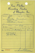 Music Memorabilia:Memorabilia, Sam Phillips Recording Studio Invoice Copy signed by Scotty Moore(1962) After touring and recording early sides with Elvis,...
