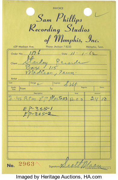 Sam Phillips Recording Studio Invoice Copy Signed By Scotty Lot - Recording studio invoice