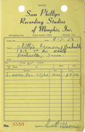 Music Memorabilia:Memorabilia, Sam Phillips Recording Studio Invoice Copy signed by Scotty Moore(1963) While Elvis was in Hollywood making movies, his ori...