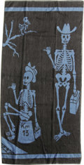 "Music Memorabilia:Costumes, Jimi Hendrix Beach Towel. A blue and black terry cloth beach towel,21"" x 49"" and featuring a hitch-hiking pair of skeletons..."