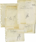 Music Memorabilia:Autographs and Signed Items, Rolling Stones Signed Interview Pages. A nice lot for RollingStones fans: Five pages of interview notes on white notebook p...