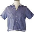 Music Memorabilia:Costumes, Buddy Holly Stage-Worn Blue Rayon Shirt. From Buddy's personalwardrobe, this is a stage-worn blue, Le Chevron brand short-s...