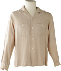 Music Memorabilia:Costumes, Buddy Holly Stage-Worn Shirt. Owned and worn by Holly on stage,this cream-colored long-sleeved shirt has his initials on th...