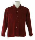 Music Memorabilia:Costumes, Buddy Holly Stage-Worn Corduroy Shirt. Holly's long-sleeved, maroon corduroy shirt worn on stage, with his initials written...