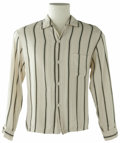 Music Memorabilia:Costumes, Buddy Holly Stage-Worn Long-Sleeve Shirt. A stage-worn, long-sleeved, cream-with-black stripes dress shirt with Holly's ini...