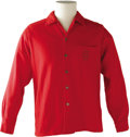 Music Memorabilia:Costumes, Buddy Holly Stage-Worn Red Wool Shirt. A Mullen Bluett-brand red, long-sleeved wool shirt with crested lapel pocket worn on...