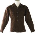 Music Memorabilia:Costumes, Buddy Holly Stage-Worn Wool Shirt. Brown, 100 percent Worsted wool shirt, size Large, belonging to Holly and worn by him on ...