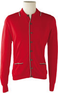 Music Memorabilia:Costumes, Buddy Holly Stage-Worn Red Nylon Shirt. A stage-worn, red long-sleeved, button-down nylon shirt with black and white trim w...