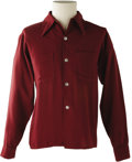 Music Memorabilia:Costumes, Buddy Holly Stage-Worn Maroon Long-Sleeve Shirt. AmericanCasuals-brand maroon shirt, size medium, worn on stage by Hollyf...