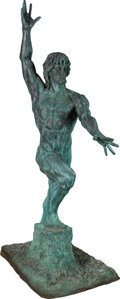 "Movie/TV Memorabilia:Memorabilia, A Monumental Patinated Bronze Figure of Sylvester Stallone as""Rambo,"" Late 20th Century...."