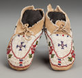 American Indian Art:Beadwork and Quillwork, A Pair of Cheyenne Child's Beaded Hide Moccasins... (Total: 2 )
