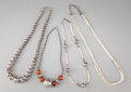 American Indian Art:Jewelry and Silverwork, Four Southwest Silver Bead Necklaces... (Total: 4 )