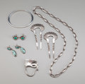 American Indian Art:Jewelry and Silverwork, Six Southwest Jewelry Items... (Total: 9 )