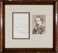 Movie/TV Memorabilia:Autographs and Signed Items, A Charles Dickens Handwritten Note, 1844....