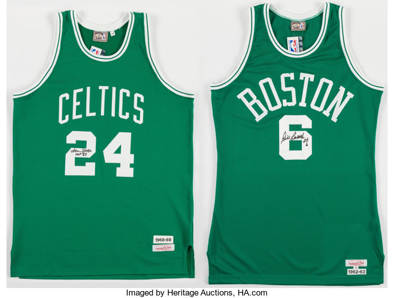 Sam Jones and Bill Russell Signed Boston Celtics Jerseys (2 ... 9be1d4d9b