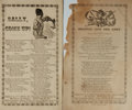 Books:Americana & American History, [Music] [American History]. Two Sheets of Song Lyrics Related tothe Civil War. San Francisco: T. C. Boyd, [circa 1860]....