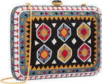 Judith Leiber Full Bead Yellow & Blue Crystal Kilim Rug Minaudiere Evening Bag Excellent Condition <