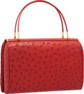 "Luxury Accessories:Bags, Judith Leiber Red Ostrich Tote Bag. Excellent Condition.9"" Width x 6"" Height x 3.5"" Depth. ..."