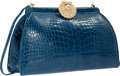 "Luxury Accessories:Accessories, Judith Leiber Shiny Blue Alligator Evening Bag. Very GoodCondition. 9"" Width x 6"" Height x 3"" Depth. ..."