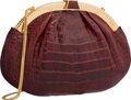 """Luxury Accessories:Accessories, Judith Leiber Shiny Burgundy Alligator Evening Bag. Good to VeryGood Condition. 11"""" Width x 7"""" Height x 2"""" Depth. ..."""