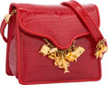 "Luxury Accessories:Accessories, Judith Leiber Shiny Red Alligator Shoulder Bag. Very GoodCondition. 5"" Width x 4"" Height x 2.5"" Depth. ..."