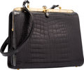 "Luxury Accessories:Accessories, Judith Leiber Shiny Black Alligator Shoulder Bag. ExcellentCondition. 10.5"" Width x 9"" Height x 4.5"" Depth. ..."