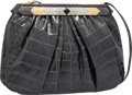 """Luxury Accessories:Bags, Judith Leiber Shiny Gray Alligator Evening Bag. Very Good toExcellent Condition. 10"""" Width x 7.5"""" Height x 2""""Depth..."""