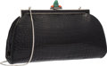 "Luxury Accessories:Bags, Judith Leiber Shiny Black Alligator Evening Bag. Very Good toExcellent Condition. 9.5"" Width x 5.5"" Height x 2""Depth..."