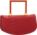 "Luxury Accessories:Bags, Judith Leiber Shiny Red Alligator Top Handle Bag. Very GoodCondition. 7"" Width x 4"" Height x 3"" Depth. ..."