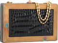 "Luxury Accessories:Bags, Judith Leiber Shiny Black Alligator Evening Bag. GoodCondition. 7"" Width x 4.5"" Height x 1"" Depth. ..."