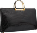 "Luxury Accessories:Accessories, Judith Leiber Shiny Black Alligator Tote Bag. GoodCondition. 17"" Width x 10"" Height x 2"" Depth. ..."