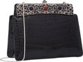 """Luxury Accessories:Accessories, Judith Leiber Shiny Navy Alligator Evening Bag. Very Good to Excellent Condition. 7"""" Width x 5.5"""" Height x 2.5"""" Depth..."""