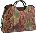 "Luxury Accessories:Bags, Judith Leiber Multicolor Python & Black Leather Tote Bag.Very Good Condition. 16"" Width x 11.5"" Height x 5""Depth. ..."