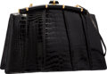 "Luxury Accessories:Accessories, Judith Leiber Shiny Black Alligator Evening Bag. Very Good toExcellent Condition. 12.5"" Width x 8"" Height x 4""Depth..."