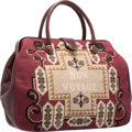 """Luxury Accessories:Bags, Judith Leiber Burgundy Leather & Beige Tapestry Bon Voyage ToteBag. Good to Very Good Condition. 16"""" Width x 11""""Heig..."""