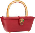 "Luxury Accessories:Bags, Judith Leiber Red Karung Top Handle Bag. ExcellentCondition. 7"" Width x 3"" Height x 4"" Depth. ..."
