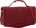 "Luxury Accessories:Bags, Judith Leiber Red Stingray & Karung Evening Bag. ExcellentCondition. 8"" Width x 4.5"" Height x 3"" Depth. ..."