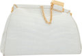 "Luxury Accessories:Accessories, Judith Leiber Shiny White Alligator Evening Bag. GoodCondition. 7.5"" Width x 5"" Height x 2"" Depth. ..."