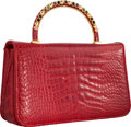 "Luxury Accessories:Bags, Judith Leiber Shiny Red Alligator Evening Bag. Very Good toExcellent Condition. 9.5"" Width x 5.5"" Height x 2.5""Depth..."