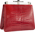 "Luxury Accessories:Bags, Judith Leiber Shiny Red Alligator Evening Bag. Very Good toExcellent Condition. 7.5"" x 7"" Height x Width x 3""Depth..."