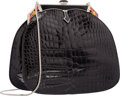 "Luxury Accessories:Bags, Judith Leiber Shiny Black Alligator Evening Bag . ExcellentCondition. 7.5"" Width x 7"" Height x 3"" Depth. ..."