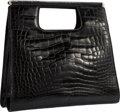 "Luxury Accessories:Bags, Judith Leiber Shiny Black Alligator Tote Bag. Good to Very GoodCondition. 11.5"" Width x 10"" Height x 4"" Depth. ..."