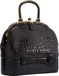 "Luxury Accessories:Bags, Judith Leiber Shiny Black Alligator Top Handle Bag. Very GoodCondition. 10.5"" Width x 9"" Height x 4"" Depth. ..."