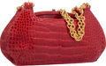 "Luxury Accessories:Accessories, Judith Leiber Shiny Red Alligator Shoulder Bag. Very Good toExcellent Condition. 11"" Width x 5.5"" Height x 2""Depth..."