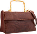 "Luxury Accessories:Bags, Judith Leiber Shiny Brown Alligator Top Handle Bag. Very GoodCondition. 10"" Width x 6"" Height x 3"" Depth. ..."