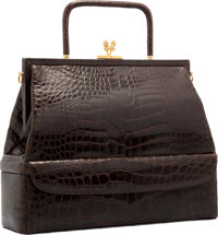 """Judith Leiber Brown Alligator Top Handle Bag with Gold Hardware Excellent Condition 12"""" Width x 1"""