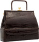 "Judith Leiber Brown Alligator Top Handle Bag with Gold Hardware Excellent Condition 12"" Width x 10"" Height x 4..."